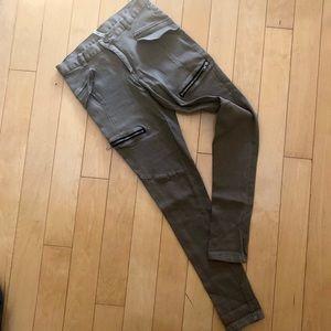 Khaki cotton satin jeans